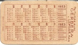 1C10 ---  Carte Parfumée   PARFUM GERBERA    PIVER    Calendrier 1923  Au Verso - Cartes
