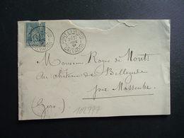 LETTRE TP SAGE 15c OBL.27 SEPT 91 PONT L'EVEQUE CALVADOS (14) Ambulant Jour CAEN A PARIS A - Marcophilie (Lettres)