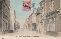 St-Philbert De Grandlieu La Grande Rue (café De L'avenir) CirculéeTimbre 1906 - Saint-Philbert-de-Grand-Lieu