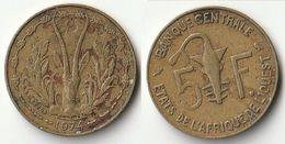 Pièce De 5 Francs CFA XOF 1974 Origine Côte D'Ivoire Afrique De L'Ouest - Côte-d'Ivoire