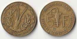 Pièce De 5 Francs CFA XOF 1993 Origine Côte D'Ivoire Afrique De L'Ouest - Ivory Coast