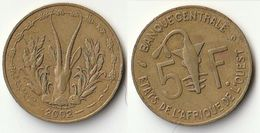 Pièce De 5 Francs CFA XOF 2002 Origine Côte D'Ivoire Afrique De L'Ouest - Côte-d'Ivoire