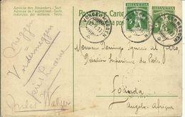 1913 Tellknabe 5c + Marke 5c Auf Postkarte Von Vordermeggen Nach Loanda, Angola - Enteros Postales