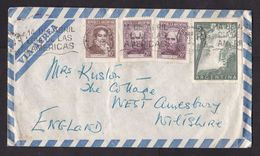 Argentina: Airmail Cover To UK, 4 Stamps, Waterfall, History, From Plaza Hotel Buenos Aires (minor Damage) - Argentina