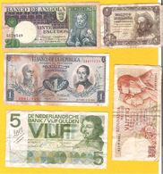 Petit Lot De 5 Billets Dont 20 Escudos Angola 5 Gulden Nederland 1 Peso Oro Colombia - Monedas & Billetes