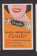 Ancienne étiquette Allumettes Portugal Années 30 Dentifrice Femme Couto - Boites D'allumettes - Etiquettes