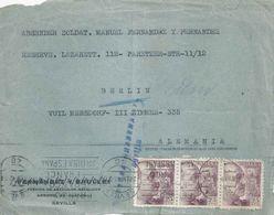Zensur Briefvs  Sevilla - Berlin           1942 - 1931-Today: 2nd Rep - ... Juan Carlos I