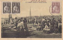 Portugal Lisboa -Varinas No Mercado Do Peixe -circulou De Abrantes Para U.S.A.  8-8-1918 Com Carimbo De Censura - Rio De Janeiro