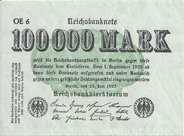 ALLEMAGNE 100000 MARK 1923 XF+ P 91 - [ 3] 1918-1933 : República De Weimar