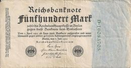 ALLEMAGNE 500 MARK 1922 VF P 74 - [ 3] 1918-1933 : République De Weimar