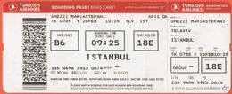 TURKISH AIRLINES - 2020 - BOARDING PASS - BİNİŞ KARTI - TK 0785 - TLV-IST - Telaviv-Istanbul - Monde
