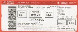 TURKISH AIRLINES - 2020 - BOARDING PASS - BİNİŞ KARTI - TK 0785 - TLV-IST - Telaviv-Istanbul - Billets D'embarquement D'avion