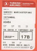TURKISH AIRLINES - 2020 - BOARDING PASS - BİNİŞ KARTI - TK 0818 - IST-AQJ - Istanbul-Aqaba - Monde