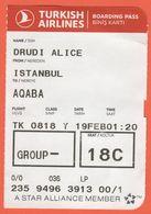 TURKISH AIRLINES - 2020 - BOARDING PASS - BİNİŞ KARTI - TK 0818 - IST-AQJ - Istanbul-Aqaba - Vliegtickets