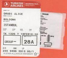 TURKISH AIRLINES - 2020 - BOARDING PASS - BİNİŞ KARTI - TK 1326 - BLQ-IST - Bologna-Istanbul - Vliegtickets