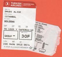 TURKISH AIRLINES - 2020 - BOARDING PASS - BİNİŞ KARTI - TK 1325 - IST-BLQ - Istanbul-Bologna - Monde