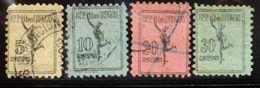 1928 URUGUAY Used Encomiendas Colis Postaux Yvert E29/32 - Mercurio Mercury Mercure Mythology - Uruguay