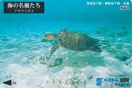 Carte Prépayée Japon - ANIMAL - Série NAUI DIVING 7/8 - TORTUE - TURTLE Japan Prepaid Metro Ticket Card - 192 - Tartarughe