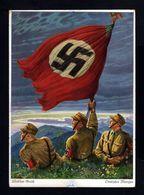 E+D9-GERMAN EMPIRE-MILITARY PROPAGANDA POSTCARD Flag And German Soldiers.Munchen.WWII.DEUTSCHES REICH - Allemagne