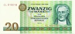 Germany - Democratic Republic - 20 Mark - 1975 - Pick: 29.a - Unc. - Serie CL - 6 Digit Wide Serial # - [ 6] 1949-1990 : RDA - Rep. Dem. Tedesca