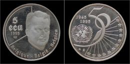 Belgium Albert II 5 Ecu 1995-50 Years Of United Nations - 1993-...: Alberto II