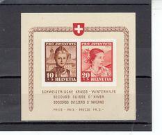 Suisse - Année 1941 - Neuf** - Pro Juventute - Bloc Pour Le Secours D'hiver - Blocs & Feuillets