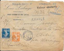 1909 - Sur Enveloppe En Tête Louis Labaye Entrepeneur Saint-Gérand-le-Puy (Allier) - Frankreich