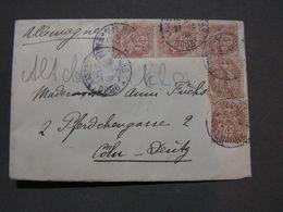 France Cv. Bahnpost 1908  ?  Lie.. - Doubs Nach Köln - Francia