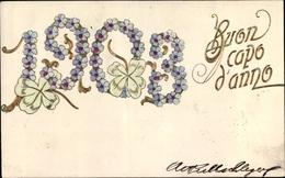 Gaufré Cp Glückwunsch Neujahr 1903, Vergissmeinnicht Und Glücksklee - New Year