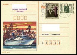 DDR & Bund / East & West Germany: Ganzsache / Postal Stationery 'MS Arkona, 1990', Mi. P109/02 Oo - Postcards - Used