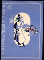POLAND 1936 TELEGRAM LARGE FORMAT POSTMAN WITH BASKET OF FLOWERS TELEGRAPH POST USED LX 2 TÉLÉGRAMME TELEGRAMM TELEGRAMA - Covers & Documents