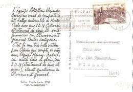 Yvert N°1126(10f.PALAIS DE L'ELYSEE) Seul Sur CARTE POSTALE Oblitéré FIGEAC - Storia Postale