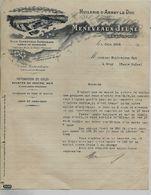 Facture 1916 / Photo Usine Cheminée / 21 ARNAY-LE-DUC / MENEVAUX JEUNE / Huilerie De Bourgogne / Erreur Paiement - 1900 – 1949