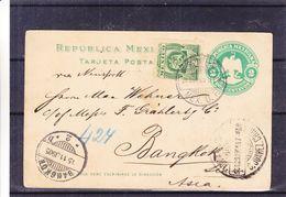 Mexique - Carte Postale De 1905 - Entier Postal - Oblit Serv Int Erni Mex D.F. - Exp Vers Bangkok - Destination Rare - Mexico