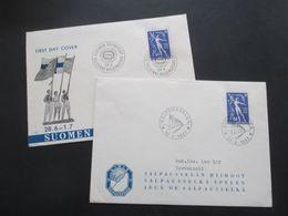 Finnland 1956 / 57 Michel Nr. 456 Aud 2 Schmuck Belegen / FDC Mit SST Echt Gelaufen?! Rücks. Ank. Stempel - Cartas