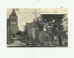 32 - BIVES - La Place Petite Animation église Mairie Bon état - Autres Communes