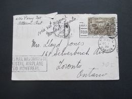 Kanada 1928 Via 1st Airmail Montreal - Toronto Stempel This Mail Was Carried By Postal Airplane To Montreal - Cartas