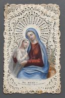 """Image Pieuse - Vierge Marie - Imp. Demanne-Lebel, Paris - 1061 - """"Dentelle"""" - Souvenir De Marie Benoit, Courtrai - 1890 - Andachtsbilder"""