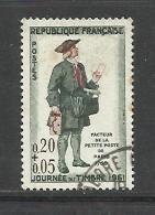 FRANCE , FRENCH , 0,20 F + 0,05 F , Facteur De La Petite Poste De Paris En 1760 , 1961 , N° YT  1285 ( O ) - Used Stamps