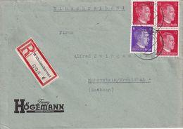 ALLEMAGNE 1943 LETTRE RECOMMANDEE DE WILHELMHAVEN AVEC CACHET ARRIVEE HOHENSTEIN - Germany