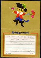 POLAND 1959 TELEGRAM SPECIAL OCCASION PUSS IN BOOTS ROSES CAT CHAMPAGNE LX 2 TÉLÉGRAMME TELEGRAMM TELEGRAMA - Covers & Documents