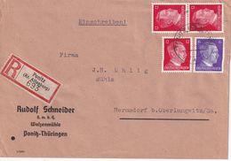 ALLEMAGNE 1943 LETTRE RECOMMANDEE DE PONITZ AVEC CACHET ARRIVEE OBERLUNGWITZ - Germany
