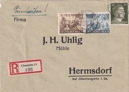 ALLEMAGNE 1944 LETTRE RECOMMANDEE DE CHEMNITZ  AVEC CACHET ARRIVEE OBERLUNGWITZ - Germany