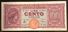 100 Lire Italia Turrita Luogotenenza 1944 S PlLOTTO 1943 - [ 1] …-1946 : Royaume