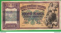 Albania 100 Franga 1945 War Currency Albanien Shqipëria Timbro Over Stamp - Albanie
