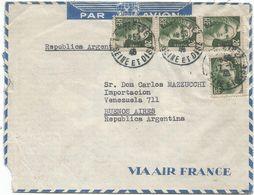 GANDON 20FR GRAVEX4 LETRE AVION LE VESINET 17.12.1946 POUR ARGENTINE AU TARIF - 1945-54 Marianne De Gandon