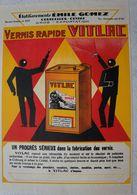 Feuillet Publicitaire Illustré Vernis VITLAC Etablissement Emile GOMEZ Courcelles Région Trazegnies Piéton Godarville - Publicités