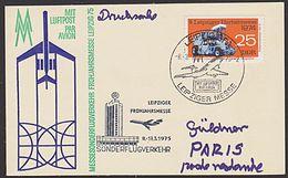 Sonderflug Leipzig Paris 25 Pf Herbst-MM 1974 Mi. 1974 Portogenau DDR A-Lp-Karte - Covers