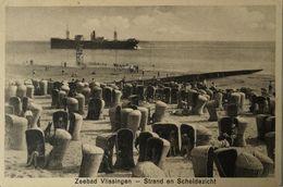 Vlissingen (Zld) Strand En Schelde Zicht (schip En Badmanden?) 1934 - Vlissingen