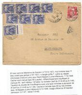 GANDON 6FR N°721A SEUL LETTRE AMBOISE INDRE ET LOIRE 7.10.1948 POUR ST NAZAIRE TAXE GERBES 1FRX8 - 1945-54 Marianne Of Gandon